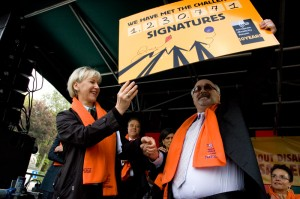 EDF campaigners presenting over 1 million signatures to the European Commission
